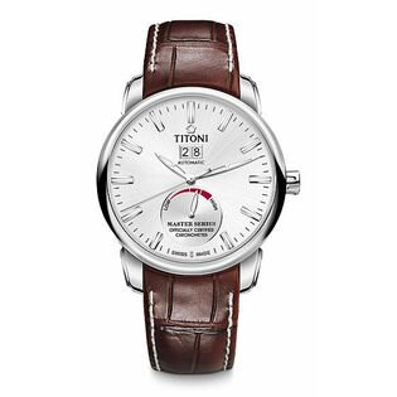 TITONI瑞士梅花錶大師系列94688S-ST-578全自動天文台機芯腕錶咖啡41mm