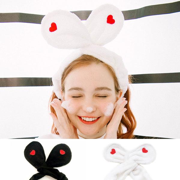 愛心髮帶兔耳朵頭飾髮夾洗臉髮帶化妝可愛毛巾髮帶髮圈髮箍情侶黑白ANNAS.