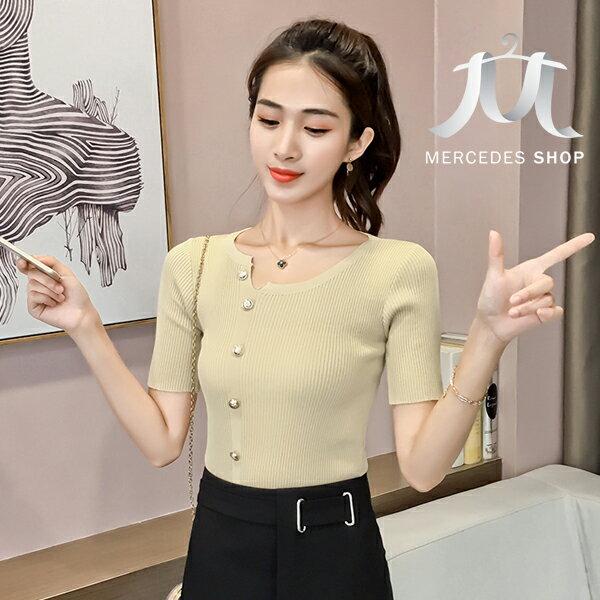 《全店75折》百搭修身顯瘦釘扣不規則短袖針織衫上衣(3色)-梅西蒂絲(現貨+預購)
