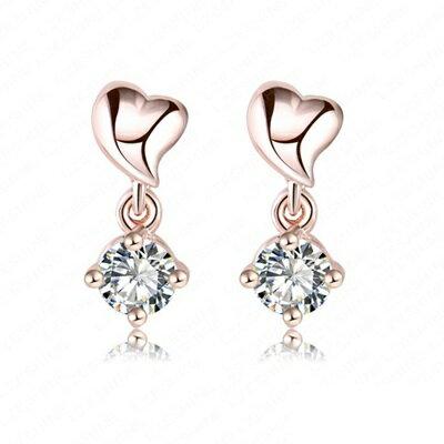 玫瑰金耳環 鑲鑽純銀耳飾~愛心 唯美吸睛七夕情人節生日 女飾品2色73bj44~ ~~米蘭
