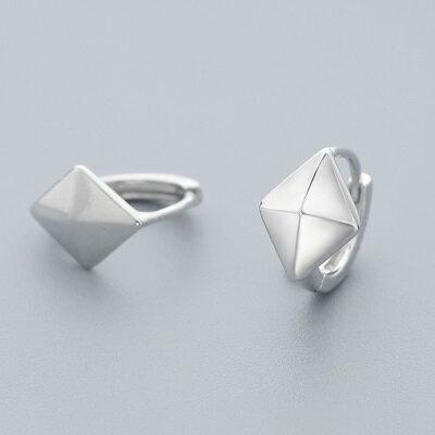 【米蘭秀】【奇珍館】:925純銀耳環菱形耳扣-立體幾何圖形亮面女飾品73ql53【獨家進口】【米蘭精品】