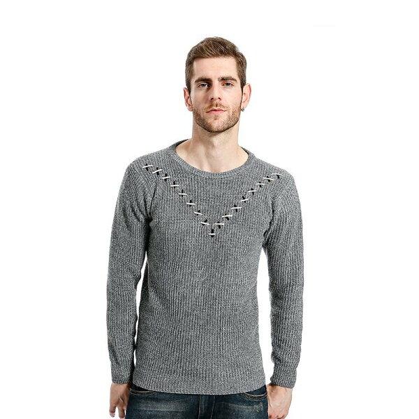 FINDSENSEZ1韓國時尚潮男胸前V圖案設計毛衣針織衫外套