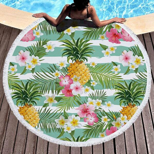 沙灘巾水果幾何印花流蘇野餐巾海灘巾圓形沙灘巾150*150【YC027】BOBI0403