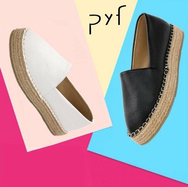 Pyf♥皮革漁夫懶人鞋舒適樂福鞋厚底麻繩草編平底鞋43大尺碼女鞋