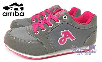 【巷子屋】arriba艾樂跑 女款超輕量復古運動慢跑鞋 [7069] 灰 MIT台灣製造 超值價$250
