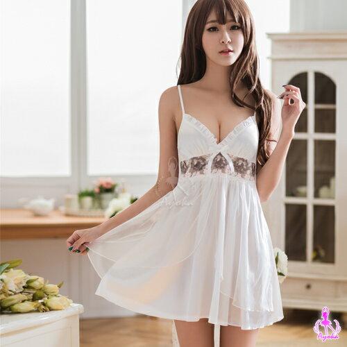 【情趣用品】性感睡衣白色深V雙層刺繡睡衣