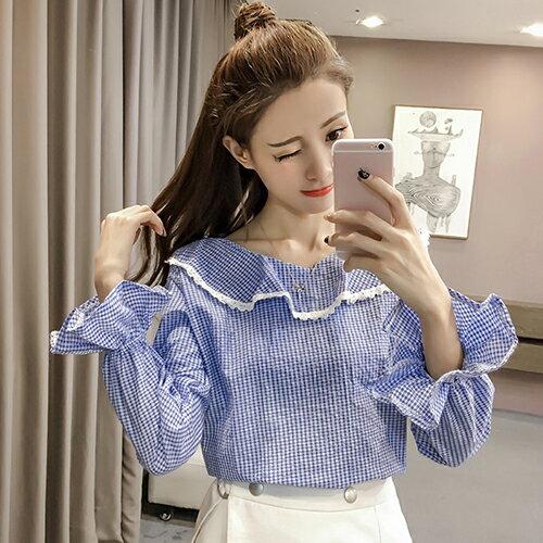 格子荷葉邊領襯衫(2色S~XL) 【OREAD】 1