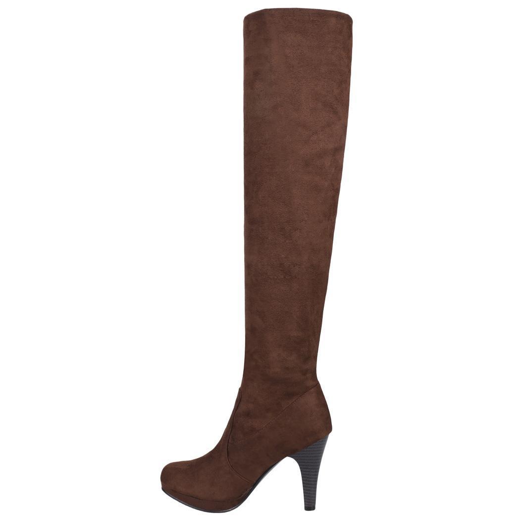 Women Over Knee Thigh High Stiletto Heel Platform Stretch Boot Size 36-39 4