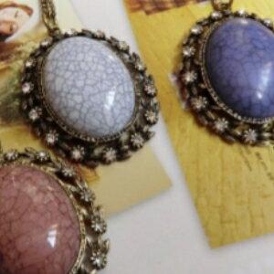 美麗大街【GX0211】歐美復古外貿原單 復古爆裂紋寶石項鍊項飾品