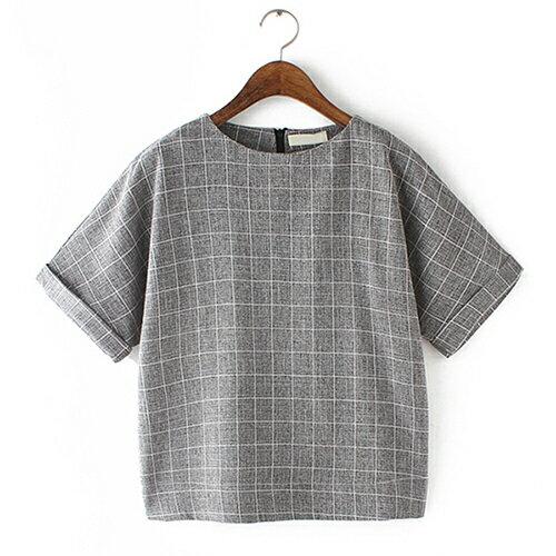圓領短袖棉麻格子T恤 (3色,S~XL) - ORead 自由風格
