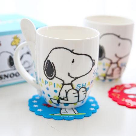 史奴比幸福馬克杯 附湯匙  陶瓷杯 杯子 沖泡飲品 咖啡杯 Snoopy 史奴比~B060