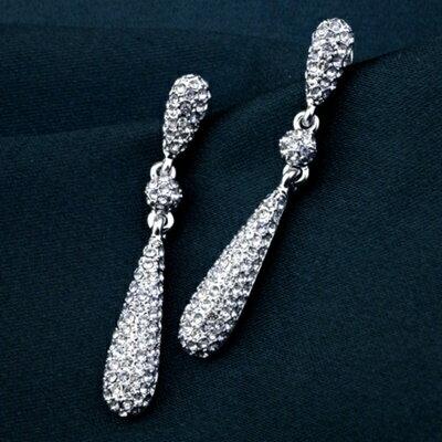 ~925純銀耳環鑲鑽耳飾~ 奢華水滴母親節生日情人節 女飾品73gt193~ ~~米蘭 ~