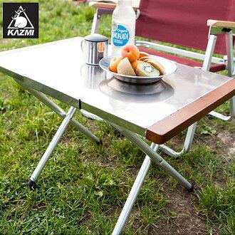 【露營趣】中和 KAZMI K3T3U002(KAZ-CP-T-LOW) 折疊不鏽鋼小鋼桌 摺疊桌 不鏽鋼桌 烤肉桌