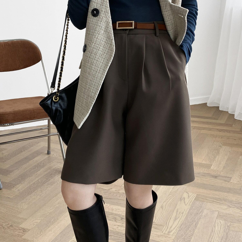 高腰直筒西褲中褲女春秋新款韓版寬鬆休閒純色五分褲子
