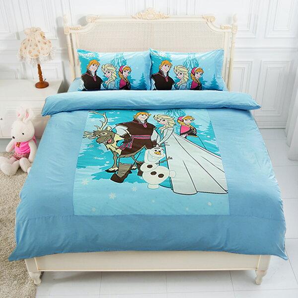 【名流寢飾家居館】Disney.迪士尼冰雪奇緣.經典冰雪(藍).單人兩用鋪棉被套.全程臺灣製造