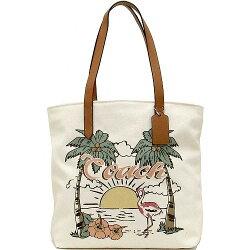 [28077]  國外代購 COACH F28077   夏威夷圖案印花大容量帆布包 托特包 購物袋 媽咪包  外出包