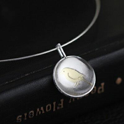 925純銀項鍊 水晶吊墜~圓形百搭小鳥雕花情人節生日 女飾品3款73gm60~ ~~米蘭