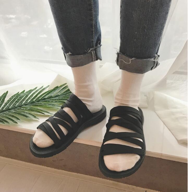 FINDSENSE品牌 男 時尚 潮 休閒 黑 條紋 編織 拖鞋 一字拖 沙滩拖鞋
