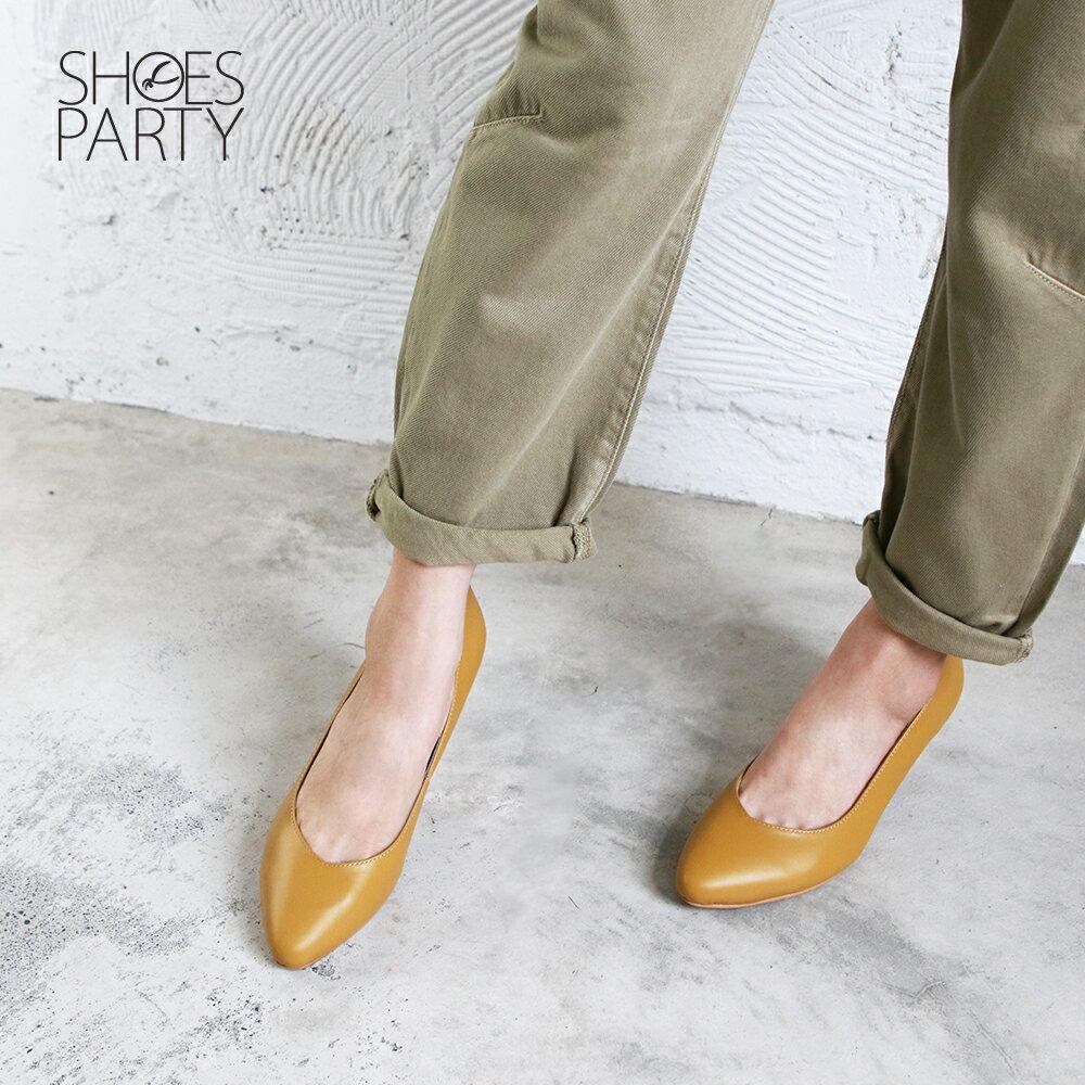 【P2-19823L】大人的素色真皮細跟鞋_Shoes Party 6