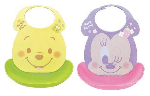 【百倉日本舖】日本製Disney米妮.小熊維尼防水圍兜/兒童圍兜