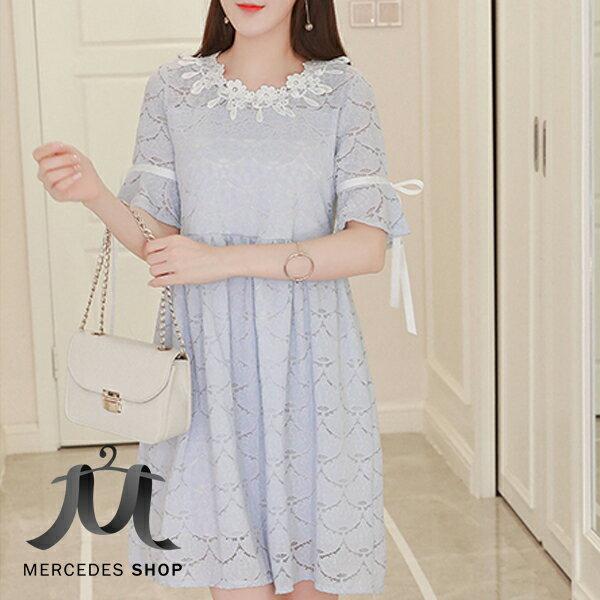 《399免運》蕾絲?花娃娃裝短袖洋裝(M-XL) - 梅西蒂絲(現貨+預購)