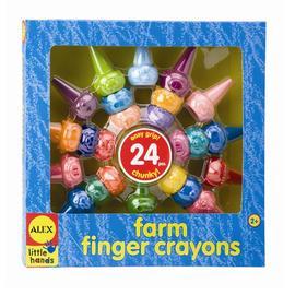 【美國ALEX】歡樂農場手指蠟筆(24色)
