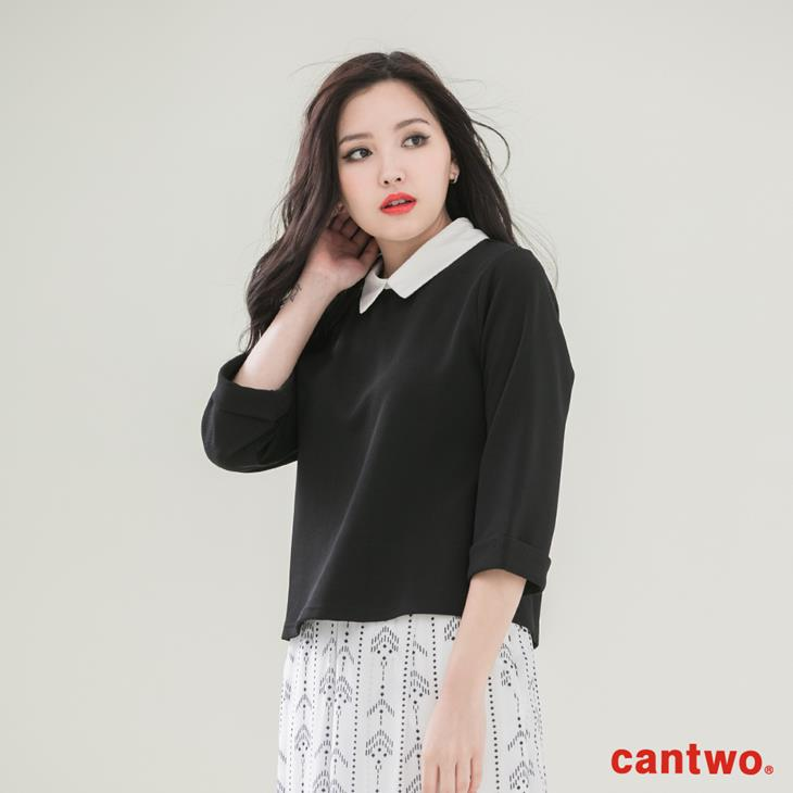 cantwo襯衫領假兩件五分袖上衣(共二色) 1