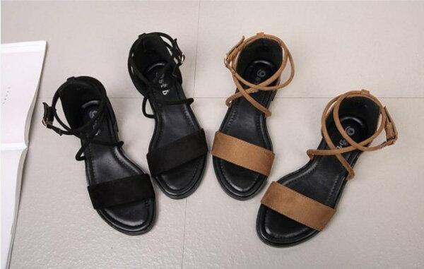 Pyf♥交叉帶羅馬鞋百搭低跟涼鞋一字絨面平底涼鞋45大尺碼女鞋