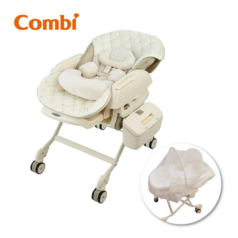 Combi Letto電動安撫餐椅搖床LX(法國香草) 送基本款蚊帳+免耳套紅外線耳溫槍