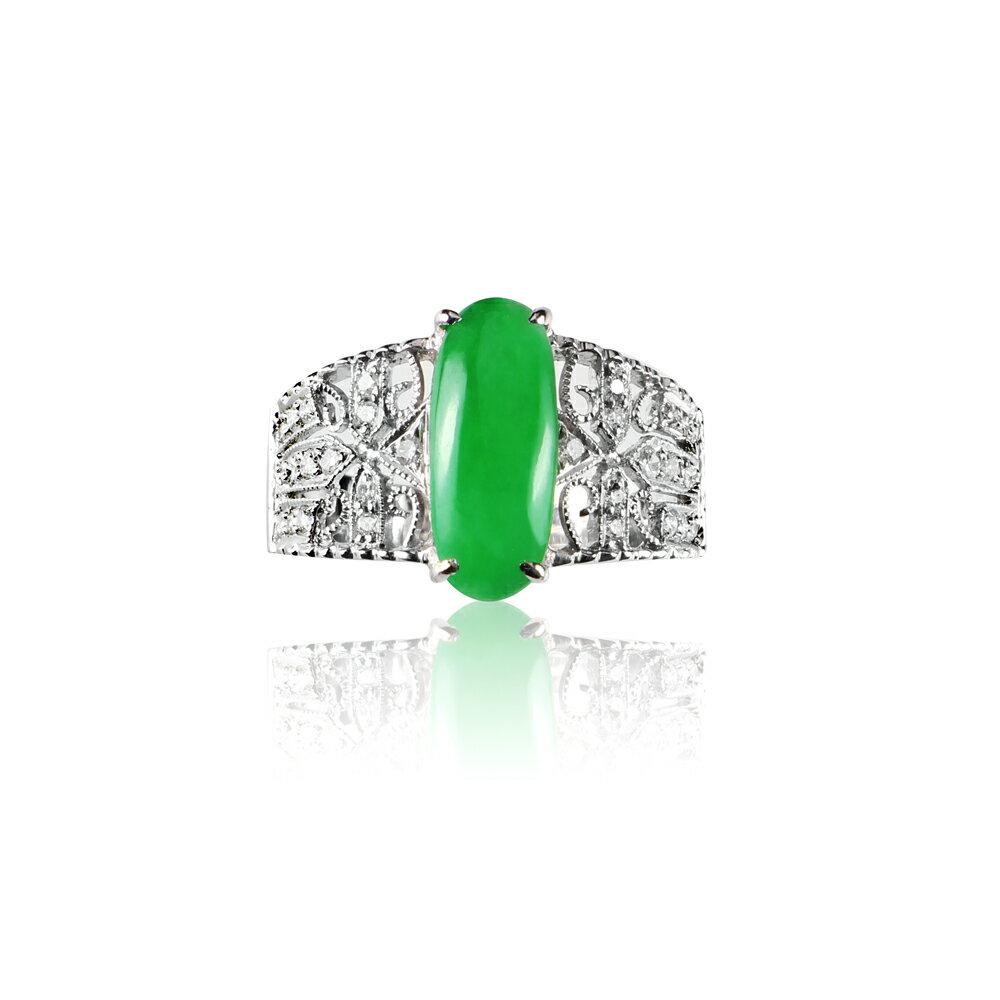 大東山珠寶 擁抱信仰 天然緬甸正陽綠A貨翡翠 頂級真鑽18K白金戒 1