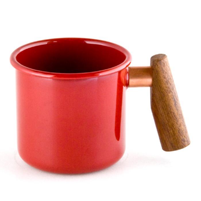 Truvii 木柄琺瑯杯/木頭琺瑯杯/琺瑯咖啡杯/日系雜貨風馬克杯 400ml 蘋果紅