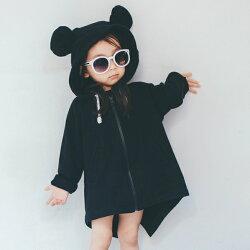 小熊連帽燕尾下擺長版拉鍊外套(薄款) 拉鍊 橘魔法 Baby magic  現貨 兒童 童裝 女童 中性款
