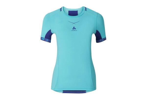 ├登山樂┤瑞士ODLO女瓷感衣短圓領PRO抗UV-極光藍光譜藍#16011120334