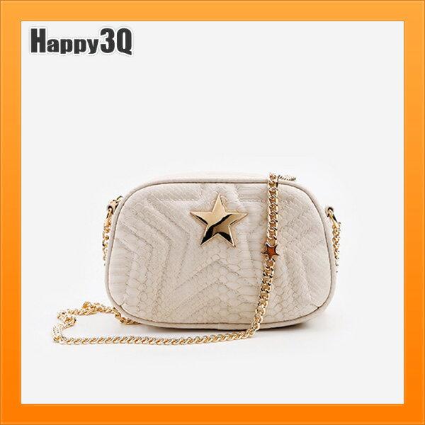 鍊條包鎖鏈包星星包女生包小方包皮夾包少女包隨身包-杏粉銀【AAA4426】