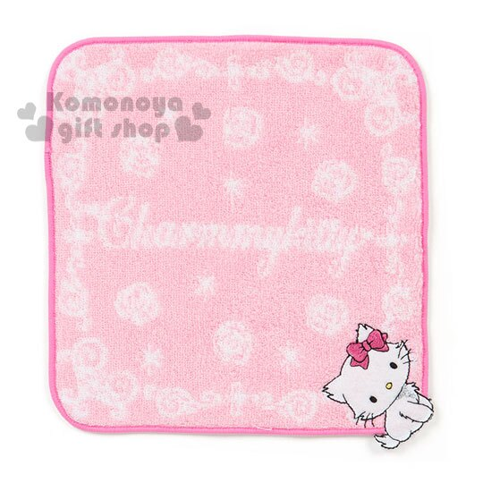 〔小禮堂〕Charmmy Kitty 圓角小方巾~粉.花紋.站姿.20x20cm~