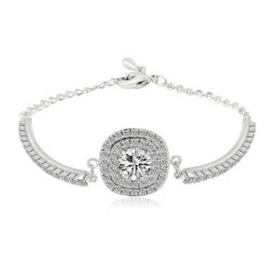 ~純銀手鍊 鍍白金鑲鑽手環~ 亮麗獨特生日情人節 女飾品73cv37~ ~~米蘭 ~