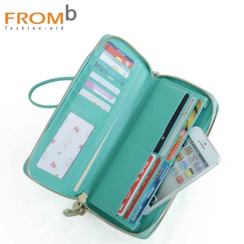 現貨|韓國正貨 FROMb 真皮雙拉鍊長夾錢包 [G0788] 大容量手機包|女皮夾|四色|橘子包舖