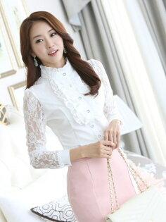韓版OL襯衫 公主款 鏤空蕾絲 高領雪紡衫 wcps07