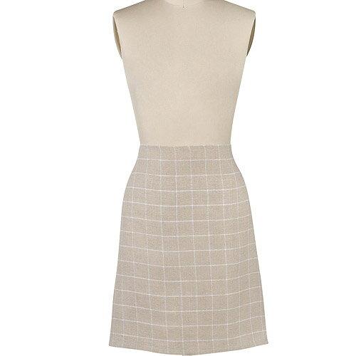 《DANICA》半身短圍裙(米方格)