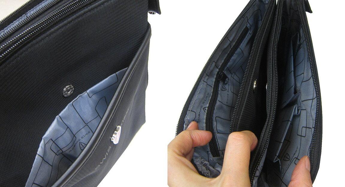 限時 滿3千賺10%點數↘ | ~雪黛屋~SWIS-SKYBO 肩側包中容量主袋+外袋共五層扁型包設計三層主袋口防水尼龍布中性款BSS500180600