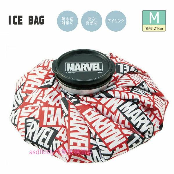 asdfkitty可愛家☆MARVEL英文字冰敷袋-M號 可當保冷劑-日本正版商品