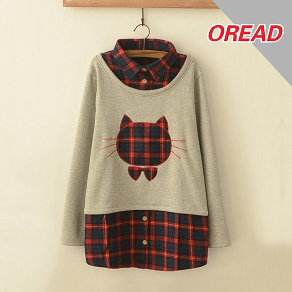 森系格子貓頭貼布繡假兩件加絨上衣 (淺灰色,M~4XL)【OREAD】 0
