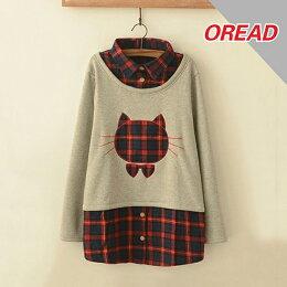 森系格子貓頭貼布繡假兩件加絨上衣  - ORead 自由風格