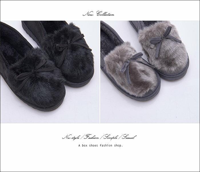 格子舖*【ASM09】*限時免運*可愛蝴蝶結麂皮舒適絨毛 保暖刷毛內裡 2.5CM圓頭包鞋 雪鞋 雪包鞋 麵包鞋 2色 2