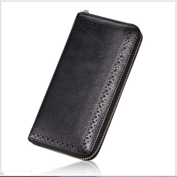 真皮長夾拉鏈長夾大容量手拿包卡包零錢包