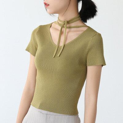 全店   純色綁帶條紋針織衫   樂天 館