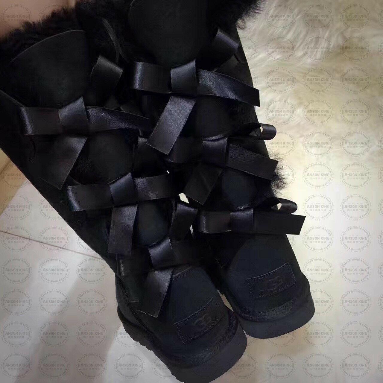 OUTLET正品代購 澳洲 UGG 一體女式絲帶蝴蝶結 保暖 真皮羊皮毛 雪靴 短靴 黑色 3