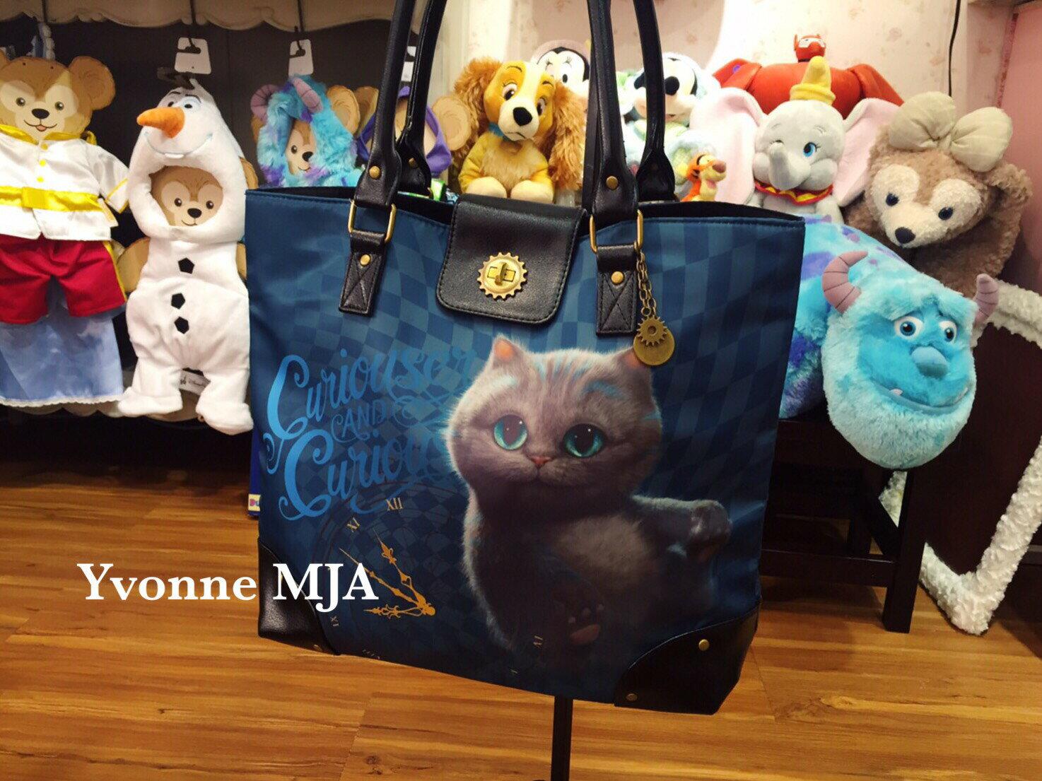 *Yvonne MJA英國迪士尼Disney限定正品愛麗絲魔鏡夢遊 Cheshire Cat 隱形柴郡貓 托特防水肩背包