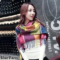 保暖配件推薦圍巾 - 披肩圍巾-保暖格子兩用披肩 圍巾【21532】 藍色巴黎《8色》現貨商品