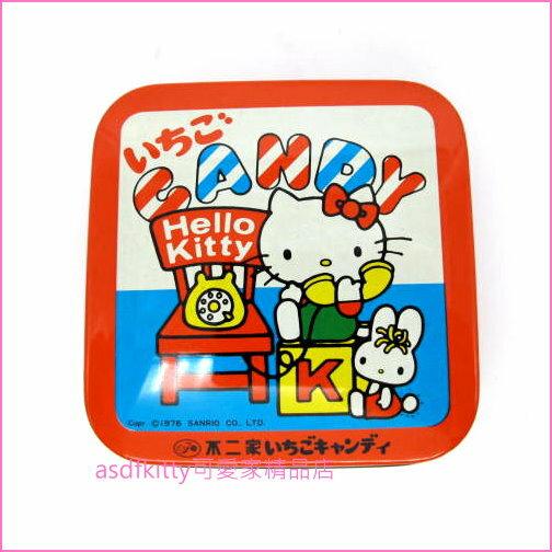 asdfkitty可愛家☆展示品出清-KITTY打電話紅色小鐵盒小物收納盒-1976年出品-日本正版商品